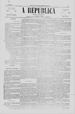 "Proclamation of the Republic (Brazil) - Cover of the newspaper ""A Republica"" containing the manifesto"