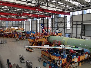 Aerospace manufacturer - An Airbus A321 on final assembly line 3 in the Airbus plant at Hamburg Finkenwerder Airport