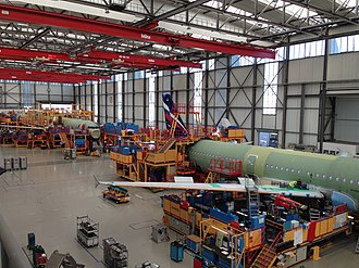 Airbus A320 family - An Airbus A321 on final assembly line 3 in the Airbus plant in Hamburg Finkenwerder Airport