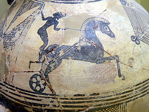 Euryleonis -  Representation of a chariot race on a clay hydria.