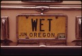 "AN OREGON PERSONALIZED LICENSE PLATE WITH THE LETTERS ""WET"" HOWEVER, LACK OF RAIN CREATED A SERIOUS ENERGY CRISIS IN... - NARA - 555432.tif"