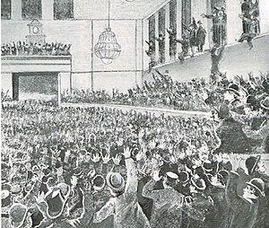 Stockholmsgade - Viggo Hørup giving a speech during a political meeting in Lørups Tidehus in 1896