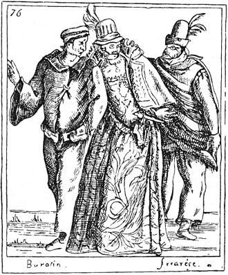 Burattino - A Courtesan and Burattino, 1594 engraving from Duchartre, p. 271