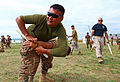 A Mongolian service member practices baton techniques during Non-Lethal Weapons Executive Seminar (NOLES) 13 at Five Hills Training Area, Mongolia, Aug. 19, 2013 130819-M-MG222-007.jpg