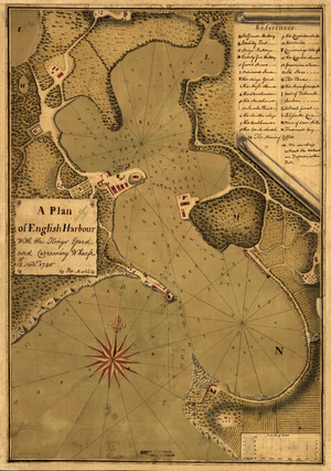 English Harbour - Map of English Harbour dated 1745