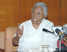 A Sarvodaya Activist and the National Communal Harmony Award and Kabir Puraskar winner Smt. Hema Bharali addressing the media, in New Delhi on April 30, 2006.jpg