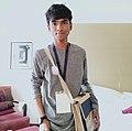 A boy with Wikipedia uniform.jpg