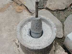 Mortar and pestle - A traditional Indian mortar and pestle.