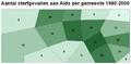 Aantal sterfgevallen aan Aids per gemeente choropleet.PNG