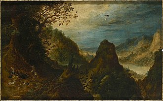 Abraham Govaerts - Image: Abraham Govaerts Landscape with River Vale and Falcon Hunt