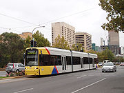 New Flexity Classic tram in service on Glenelg line in Adelaide, South Australia.