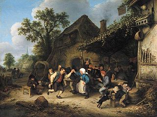 Peasants Carousing and Dancing Outside of an Inn