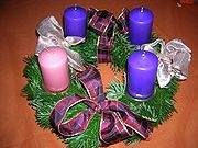 Many churches display wreaths during Advent, with one candle representing each of the four Sundays preceding Christmas.