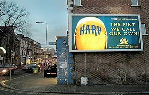 "Beer in Ireland - Irish lager advertisement: ""Harp, the pint we call our own."""
