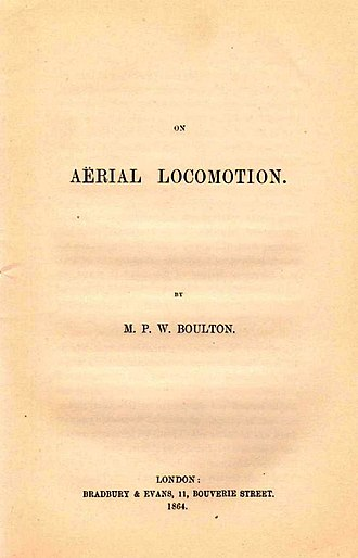 "Aileron - Boulton's 1864 paper, ""On Aërial Locomotion"" describing several designs including ailerons."