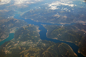 Lake Como - Aerial photograph of Lake Como, showing its distinctive three-armed shape.