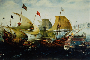 Aert Anthoniszoon - Slag bij Cadix (The Battle of Cádiz, 1608, detail) by Aert Anthoniszoon, in the collection of the Rijksmuseum in Amsterdam, the Netherlands