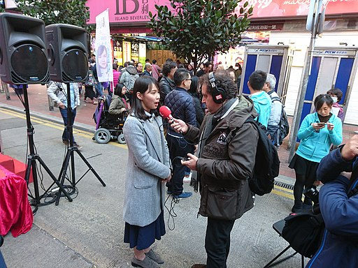 Agnes Chow being interviewed in Jan 2018