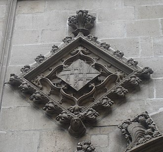 Coat of arms of Barcelona - Version of the arms of Barcelona with two bars on the ancient main façade of the City Hall