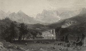 Lander Peak - The Rocky Mountains, Lander's Peak, Steel engraving by James Smillie after Albert Bierstadt