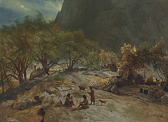 Indigenous peoples of California - Mariposa Indian encampment, Yosemite Valley by Albert Bierstadt