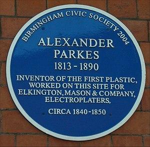 Alexander Parkes - Blue plaque on the old Birmingham Science Museum.