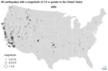 All earthquakes with a magnitude of 3.0 or greater in the United States - 2009 (35425083966).png