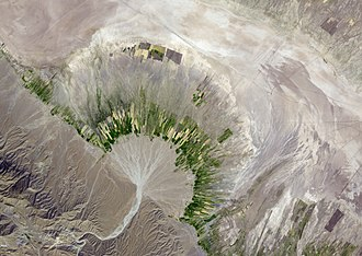 Qanat - Alluvial Fan in Southern Iran. Image from NASA's Terra satellite
