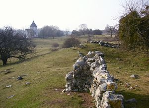 Die Ruinen von Alsnö hus mit Adelsö kyrka im Hintergrund.