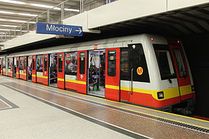 Rapid transit - Subway line in Warsaw, Poland on Wilanowska station