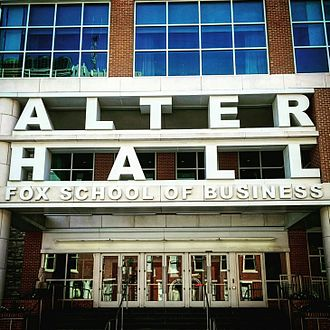 Fox School of Business and Management - The main entrance to Alter Hall.
