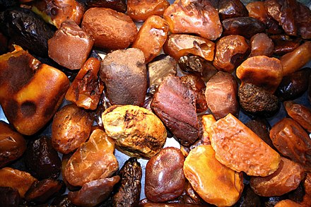 Unpolished amber stones, in varying hues Amber Bernstein many stones.jpg