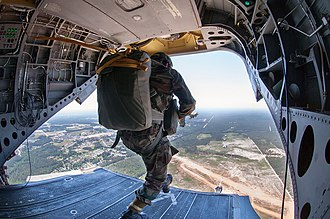 50th Parachute Brigade (India) - Image: An Indian Army paratrooper with the 50th Independent Para Brigade exits a CH47 Chinook helicopter during a partnered airborne training exercise with U.S. Army paratroopers in 2013