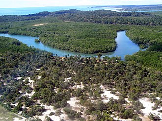 Madagascar dry deciduous forests - A portion of Anjajavy Forest, inset by a swath of mangrove forest