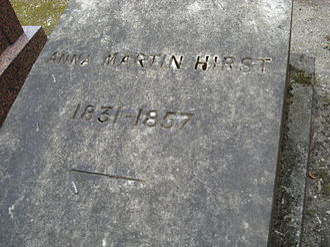 Thomas Archer Hirst - Anna Martin-Hirst, (1831–1857), wife of Thomas Archer Hirst, buried at Montmartre Cemetery