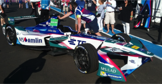 António Félix da Costa - Félix da Costa's car in the 2017 New York City ePrix paddock prior to qualifying