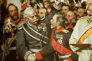 Leonhard Graf von Blumenthal - Leonhardt von Blumenthal next to Bismarck, shaking hands with General von Hartmann at the Proclamation of the German Empire at Versailles in 1871. Detail of a painting by Anton von Werner
