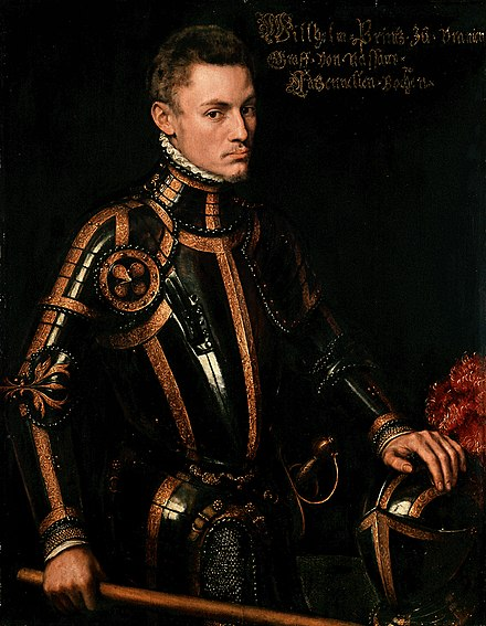 William I of Orange was a stadtholder during the Dutch Revolt against the Spanish Empire. Antonio Moro - Willem I van Nassau.jpg