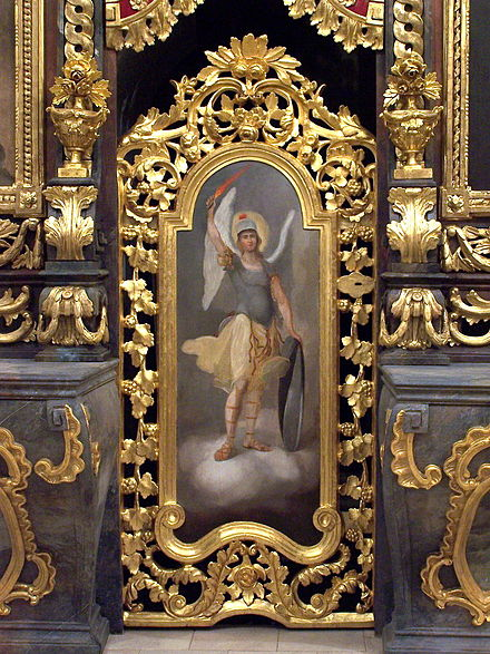 A Western style icon of the archangel Michael in the Greek Catholic Iconostasis of the Cathedral of Hajdudorog Archangel Michael Hajdudorog.JPG