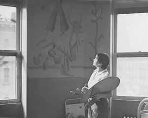 Elba Lightfoot - Elba Lightfoot working on ''Mother Goose Rhymes'', 1938 WPA mural at Harlem Hospital, New York, NY. From the collection of the Archives of American Art.