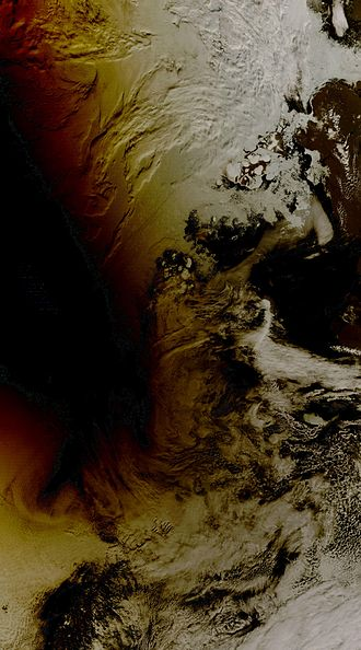 Terra (satellite) - Image: Arctic eclipse