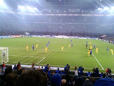 Borussia Dortmund against rivals Schalke, known as the Revierderby, in the Bundesliga in 2009 Arena Auf Schalke hosting Schalke 04 vs Dortmund in 2009.jpg