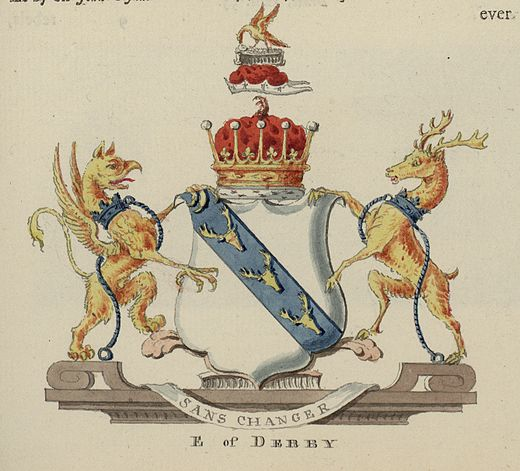Armorial achievement of the Earls of Derby of the Stanley family, 1781 Arms of the Earl of Derby 02666.jpg