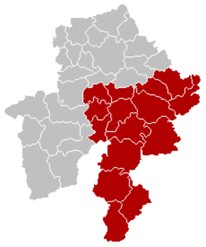 Arrondissement of Dinant - Image: Arrondissement Dinant Belgium Map