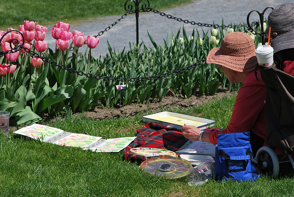 A woman in a large hat is doing a watercolor painting of pink tulips in front of her.