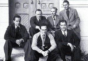 António Ferro - Artists who worked for the SPN. (1939). Top row, from the left: Thomaz de Mello, Fred Kradolfer, Emmerico Nunes and Bernardo Marques. Bottom, Carlos Botelho and José Rocha.