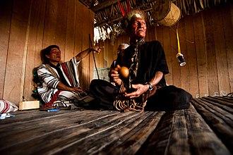 Asháninka - Asháninka men in house, Acre, 2010