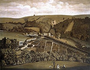Ashcombe House, Wiltshire - A panoramic view of Ashcombe House, Wiltshire, thought to have been painted around 1770 and now in the Salisbury Museum. The present-day house is only a small part of what is shown here, the rest having been demolished.