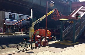 Astoria–Ditmars Boulevard (BMT Astoria Line) - Stairs on 31st Street. The Q train served this station between 2010 and 2016.