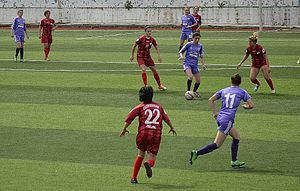 Turkish Women's First Football League - 2013–14 Women's First League match Ataşehir Belediyespor (red) vs Kdz. Ereğlispor (blue)
